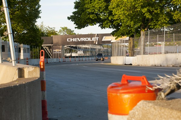 Sunset Drive on Belle Isle was converted into a raceway last month. - PHOTO BY TOM PERKINS