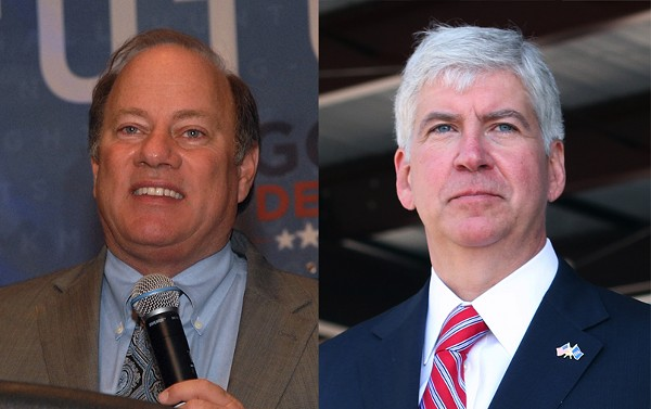Detroit Mayor Mike Duggan and Governor Rick Snyder. - VIA WIKIMEDIA COMMONS