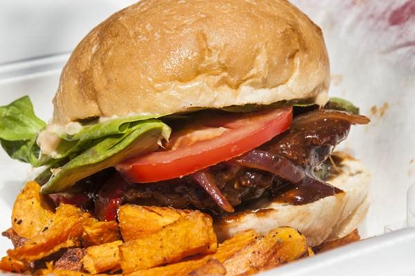 Jamaican jerk BBQ burger made with a black-eyed pea patty. - TOM PERKINS