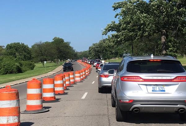 One of many recent traffic jams on Belle Isle. - MOIRA FRACASSA