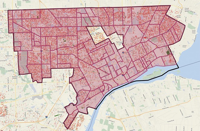 Map of tax foreclosed properties in Detroit from May, 2017. Occupied structures are in red. - LOVELAND TECHNOLOGIES