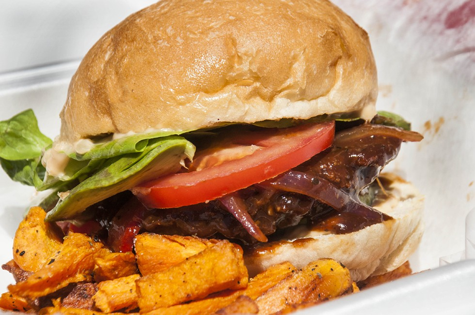 BBQ Jerk burger at Paradise Cafe. - TOM PERKINS
