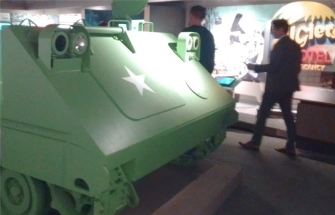 A cutaway of a tank occupies the center of one room in the exhibit. - COURTESY DAN LIJANA