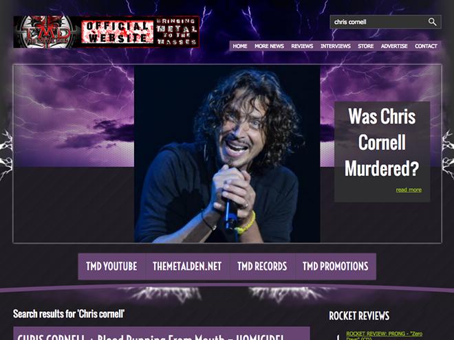 Randy Cody's website, The Metal Den. - SCREENSHOT
