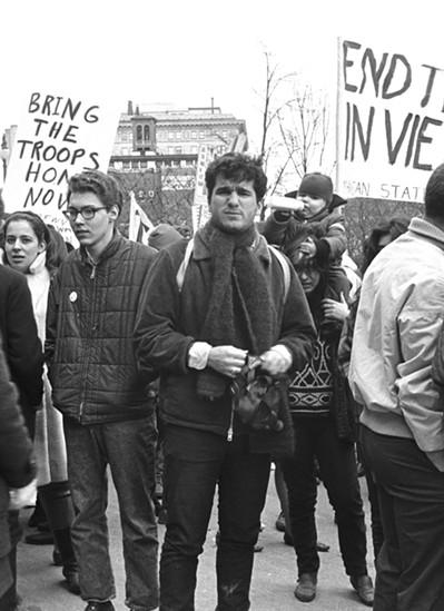 Harvey Ovshinsky at a Vietnam War protest. - LENI SINCLAIR