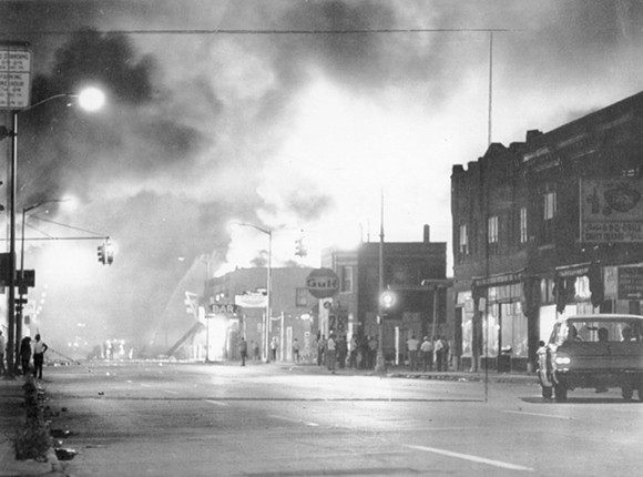 Fire from burning buildings light up the night sky on Detroit's west side. - WALTER P. REUTHER LIBRARY, ARCHIVES OF LABOR AND URBAN AFFAIRS, WAYNE STATE UNIVERSITY