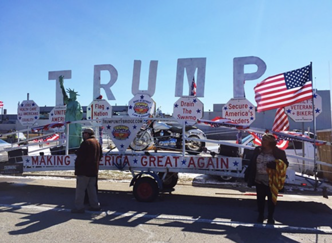The 'Trump Unity Bridge' stationed in Ypsilanti Township during a visit from the president in March. - VIOLET IKONOMOVA