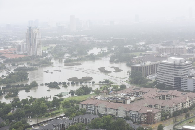 An aerial view of Houston showing the extent of flooding caused by Hurricane Harvey. - SHUTTERSTOCK