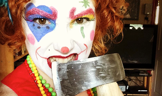 No, despite the clown white and hatchet, that's no juggalette: It's Mabel Syrup, who'll be performing at Torch with a Twist's 11th anniversary reunion party and show. - COURTESY GRACE DETROIT
