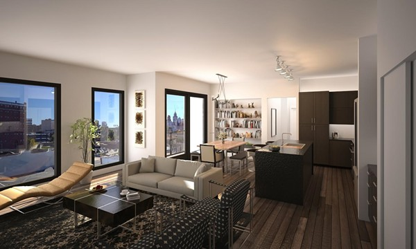 """Digital rendering of the inside of a condo unit being sold by the Loft Warehouse — """"The ultimate Detroit living experience."""""""
