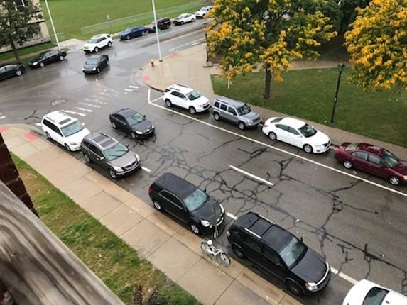 Parking is mighty scarce in front of Kristen Huston's apartment on Second near Ledyard. - PHOTO COURTESY KRISTEN HUSTON