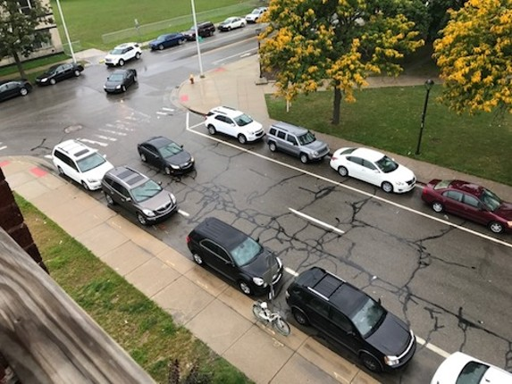 Parking is mighty scarce in front of Kristen Huston's apartment on Second near Ledyard. - PHOTO COURTESY KRISTEN HUSTON