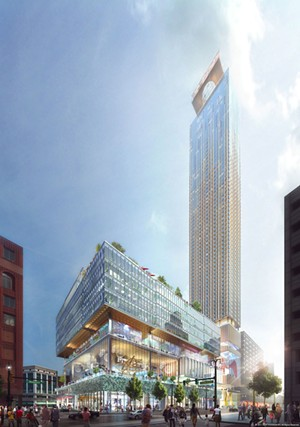 A rendering of Dan Gilbert's proposed development for the site of the former J.L. Hudson's department store. - COURTESY PHOTO