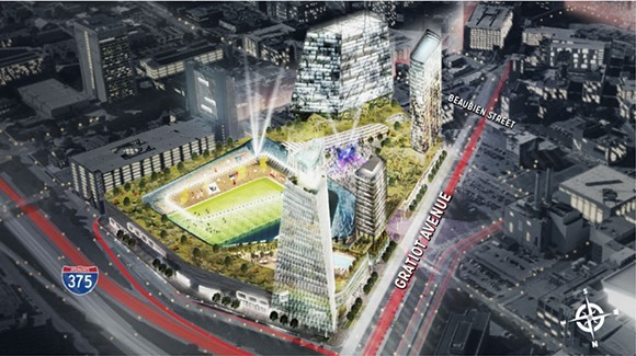 """Digital rendering of the proposed $1 billion mixed-use soccer stadium development at the """"fail jail"""" site. - ROCK VENTURES"""