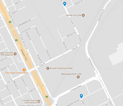 Locations of abductions on either side of the Russell Industrial Center.
