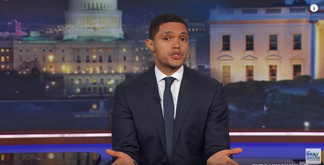 "Trevor Noah during the ""Daily Show"" - SCREENSHOT FROM YOUTUBE."