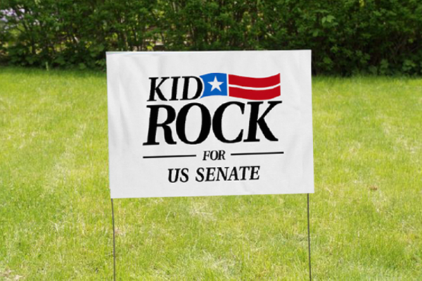 """Kid Rock for U.S. Senate"" yard signs. - KIDROCK.WARNERBROSRECORDS.COM"