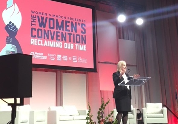 Senator Kirsten Gillibrand speaks at The Women's Convention in Detroit. - SARA BARRON