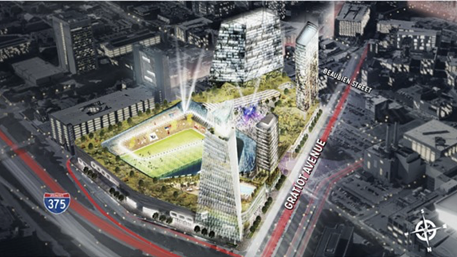 "Digital rendering of the proposed $1 billion mixed-use development once planned for the ""fail jail"" site. - ROCK VENTURES"