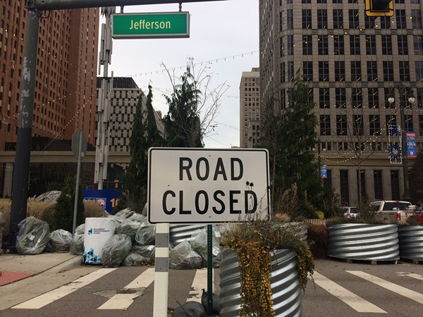 "A ""road closed"" sign on Jefferson near Woodward, the site of the Spirit of Detroit Plaza. - TOM PERKINS"