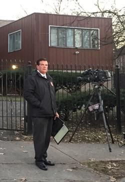 WDIV-TV's Rod Meloni looks less happy to see us. - VIOLET IKONOMOVA