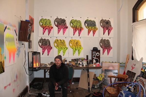 Bevan inside his Southwest Detroit studio. - SARA BARRON
