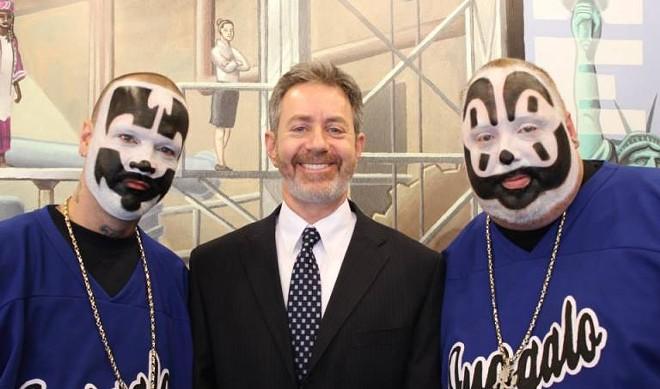 The Insane Clown Posse and Michigan ACLU legal director Michael J. Steinberg. - PHOTO COURTESY OF THE ACLU MICHIGAN