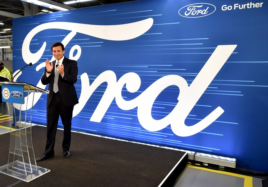 After getting blasted by Trump for moving production to Mexico, former Ford President and CEO Mark Fields announces a $700 million plan to expand its Flat Rock facilities in January 2017. Fields would be ousted in May, with some citing his awkward PR with the president as a factor. - COURTESY PHOTO