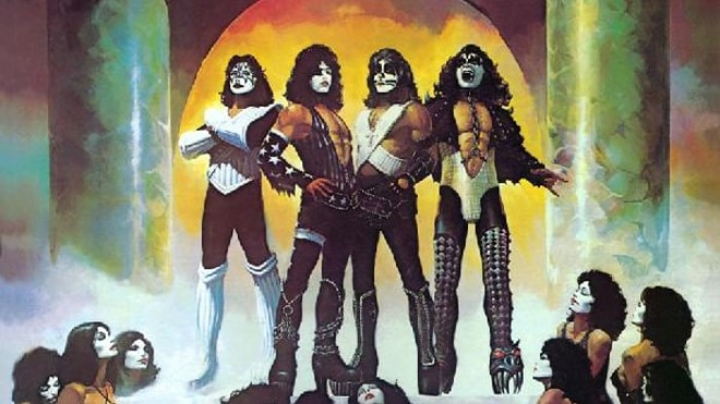 """DETAIL FROM THE COVER OF KISS'S 1977 RELEASE, """"LOVE GUN"""""""