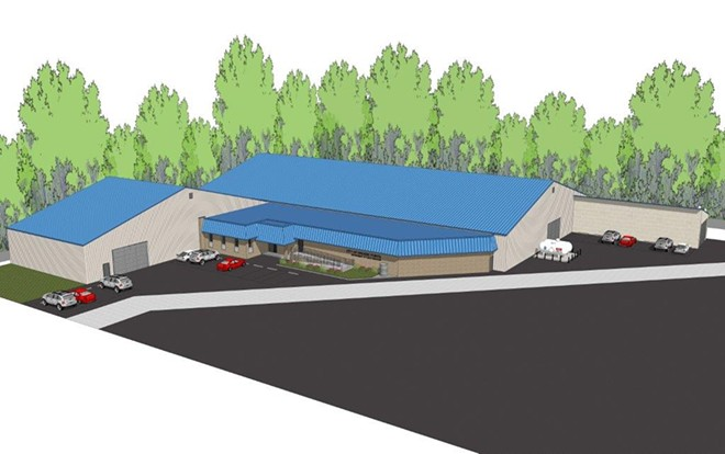 Rendering of the proposed warehouse. - COURTESY GROSSE POINTE CITY