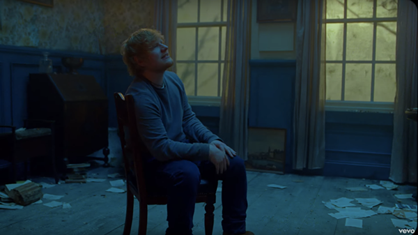 "ED SHEERAN ALONE IN A ROOM, SCREEN GRAB FROM ""RIVER"", VEVO"