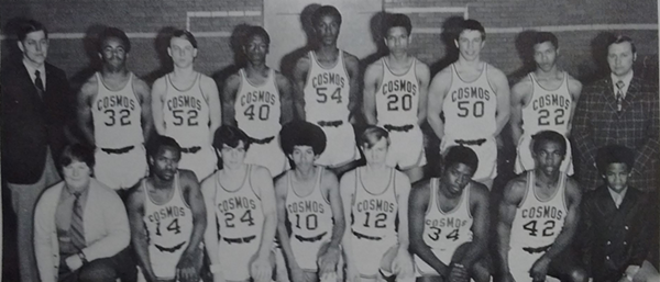 While metro Detroit communities were gearing up to fight school integration, Hamtramck was largely successfully integrated already. - HAMTRAMCK HIGH SCHOOL VARSITY BASKETBALL TEAM, HAMTRAMCK HIGH SCHOOL YEARBOOK, 1970-1971