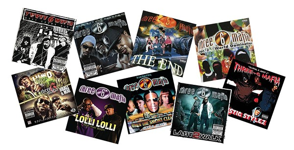 A small sampling of the 30-plus year discography of rap group Three 6 Mafia. - COURTESY PHOTOS