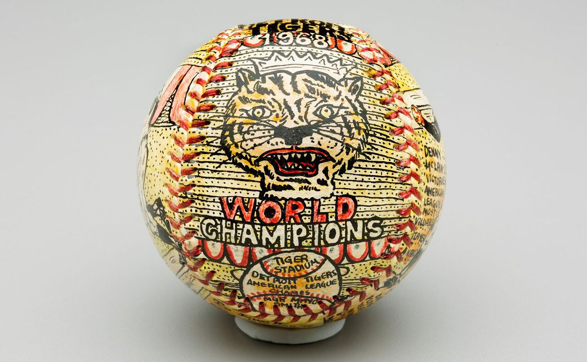 Detroit Tigers 1968 World Champions ball, pen and ink on leather by artist George Sosnak.