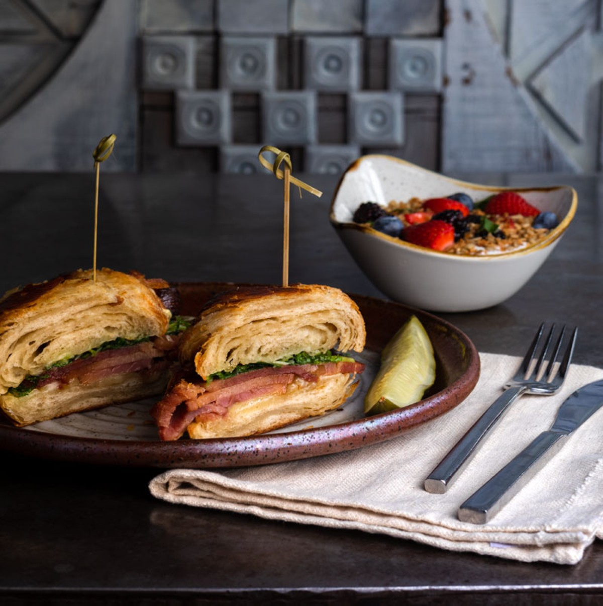 Otus Supply's new brunch menu includes a ham and cheese croissant.