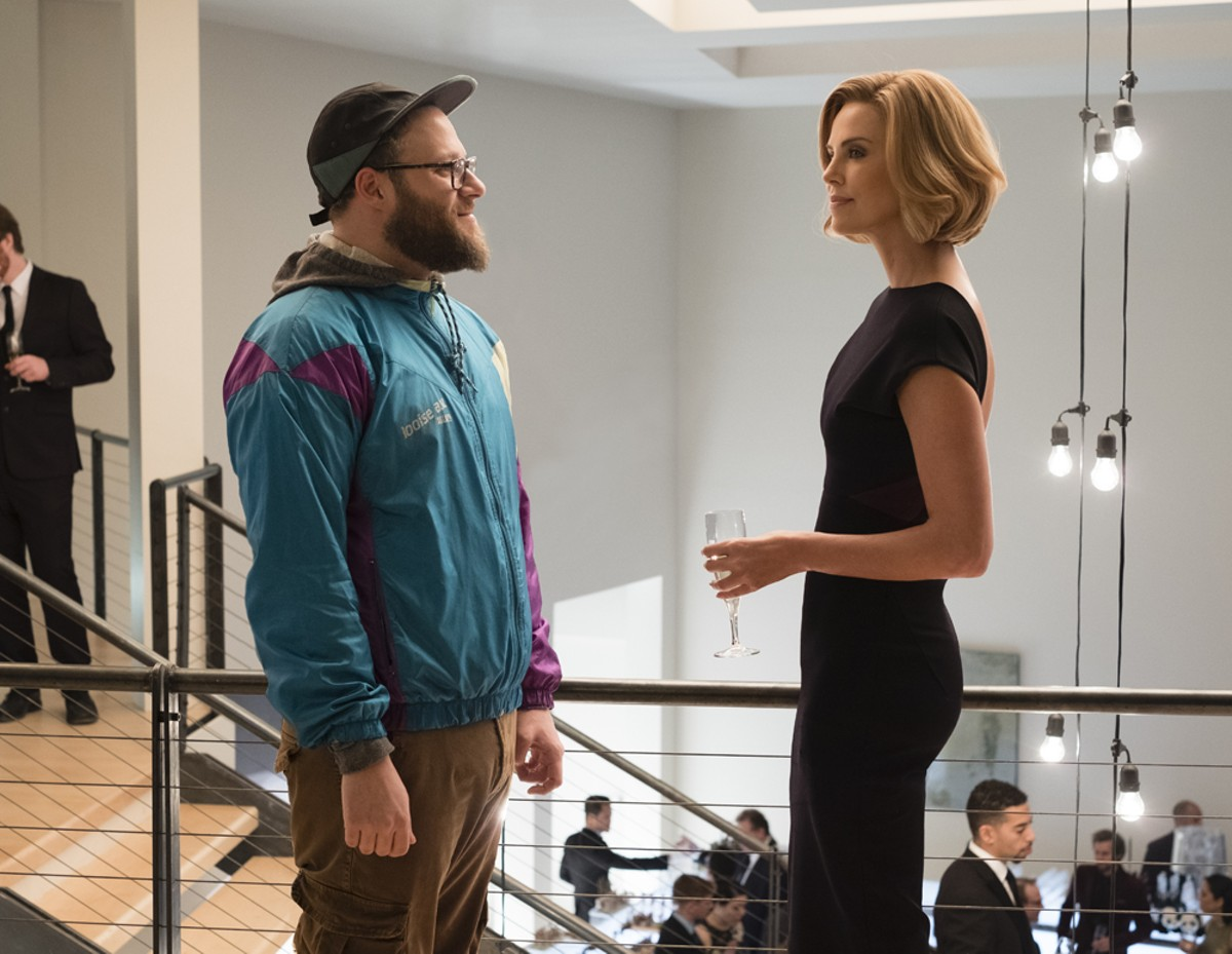 Fred Flarsky (Seth Rogen) and Charlotte Field (Charlize Theron) in Long Shot.