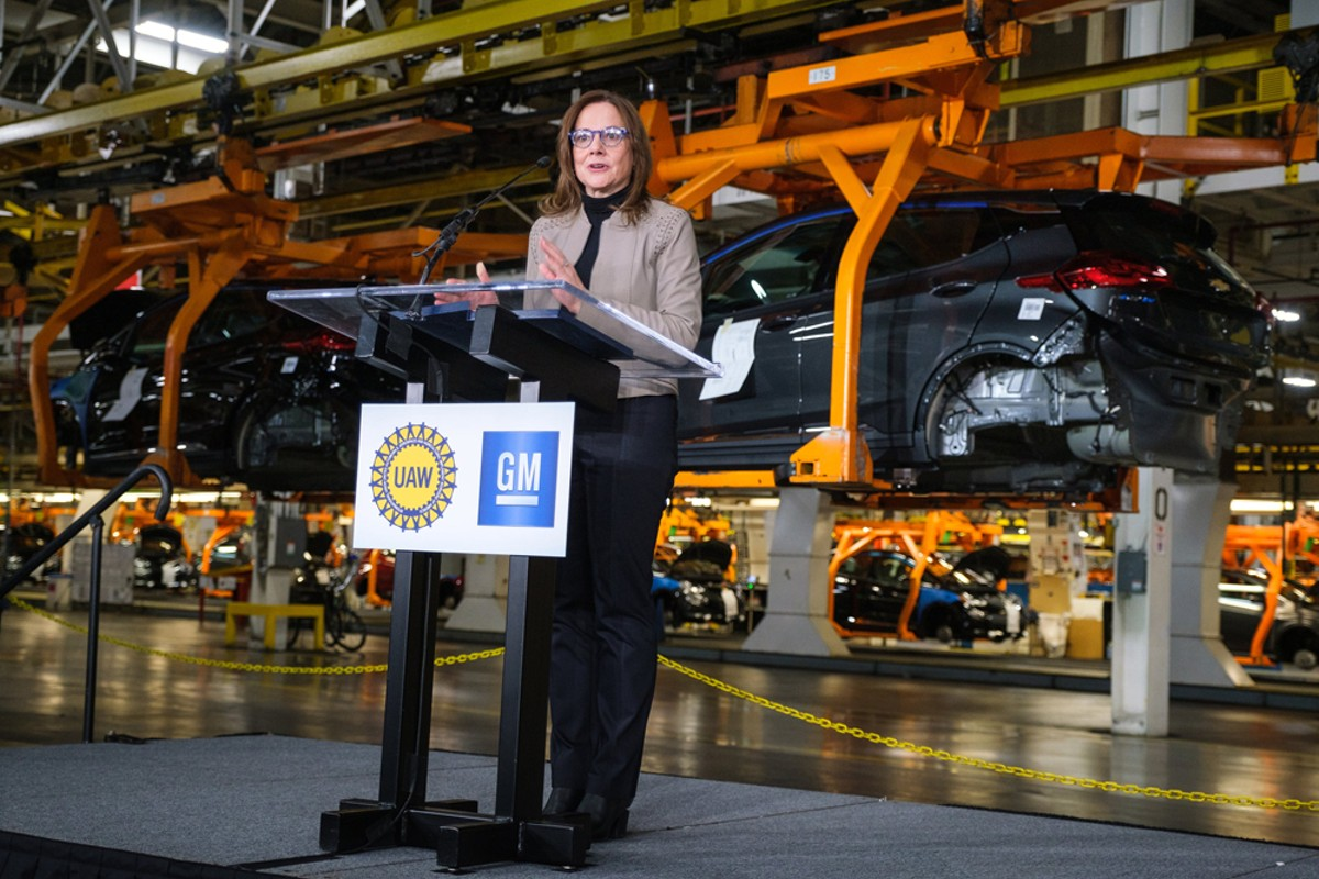 General Motors CEO Mary Barra announces a $300 million investment in its Orion Township assembly plant to produce a new Chevrolet electric vehicle.