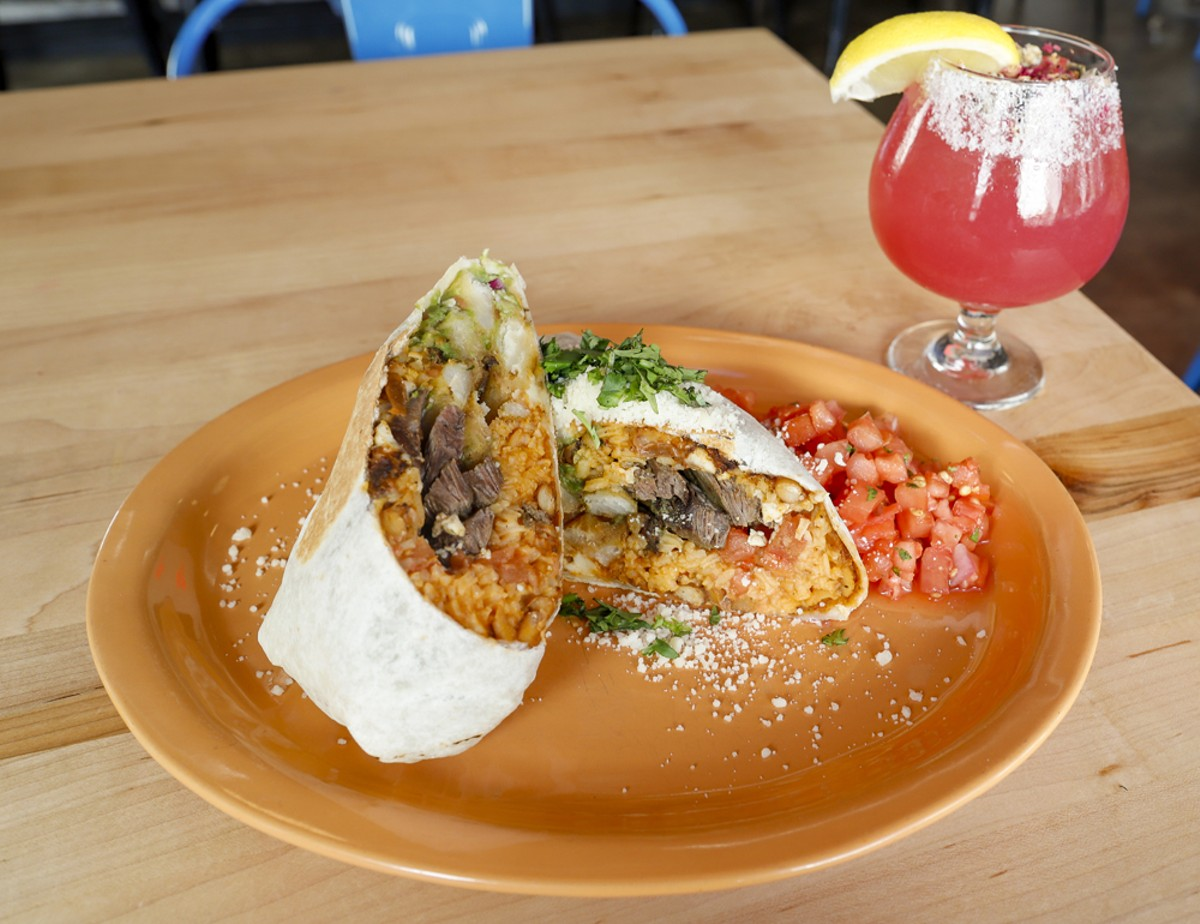 The Original California burrito and the Como La Flor margarita.
