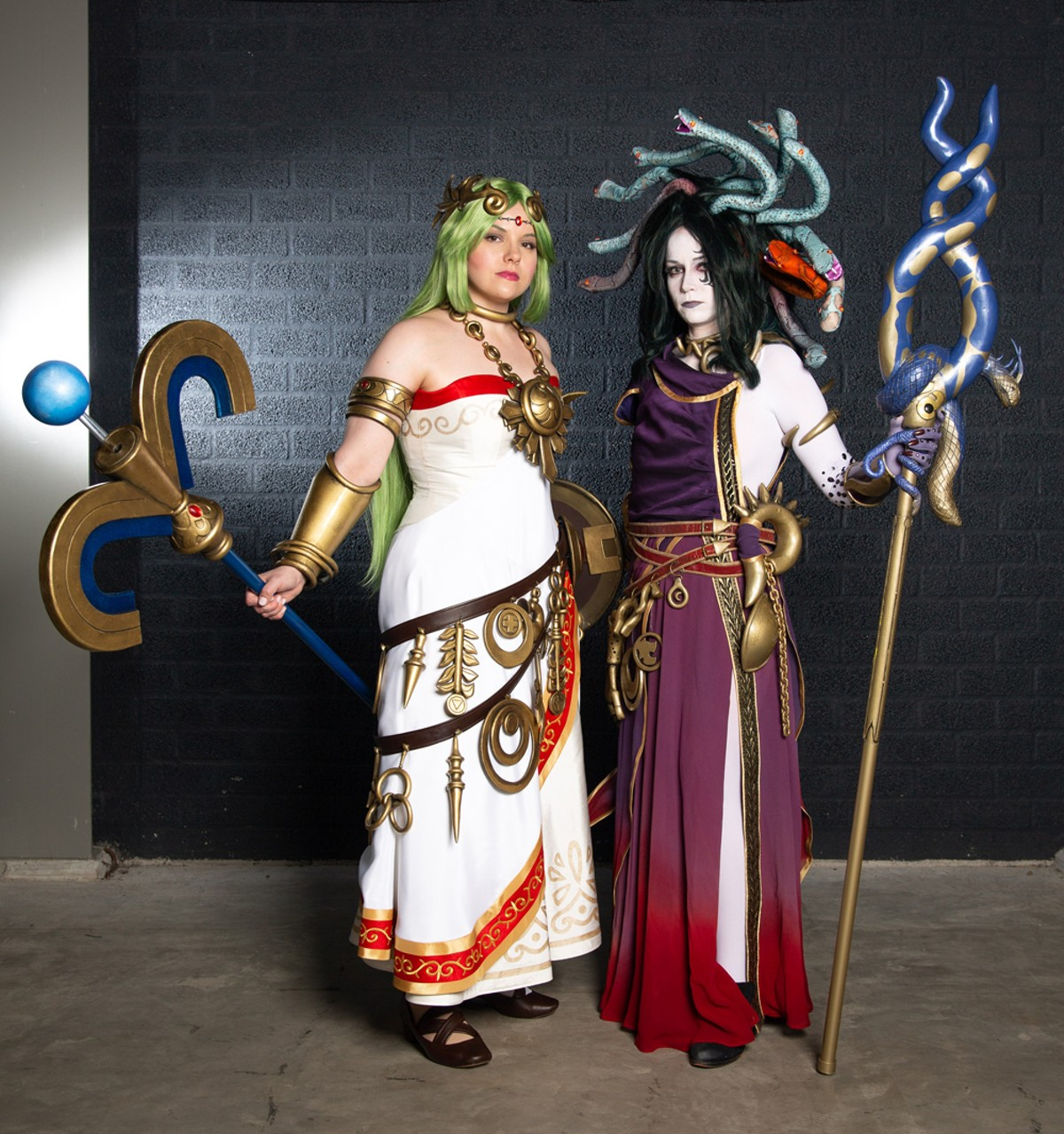 Award-winning cosplay team Sparkle Motion's Sumikins and Rynn Cosplay dressed as Palutena and Medusa from Kid Icarus Uprising.