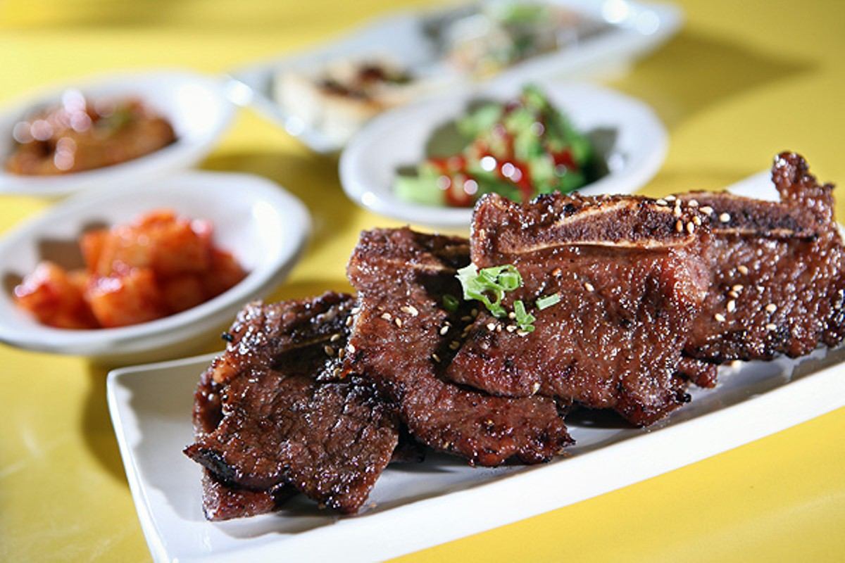 Kalbi, or marinated beef short ribs.