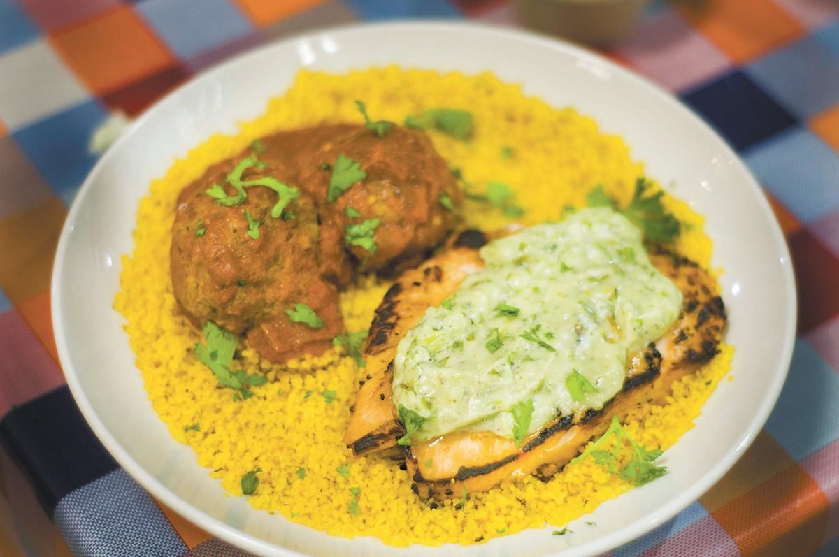 Chicken chermoula and merguez meatballs.