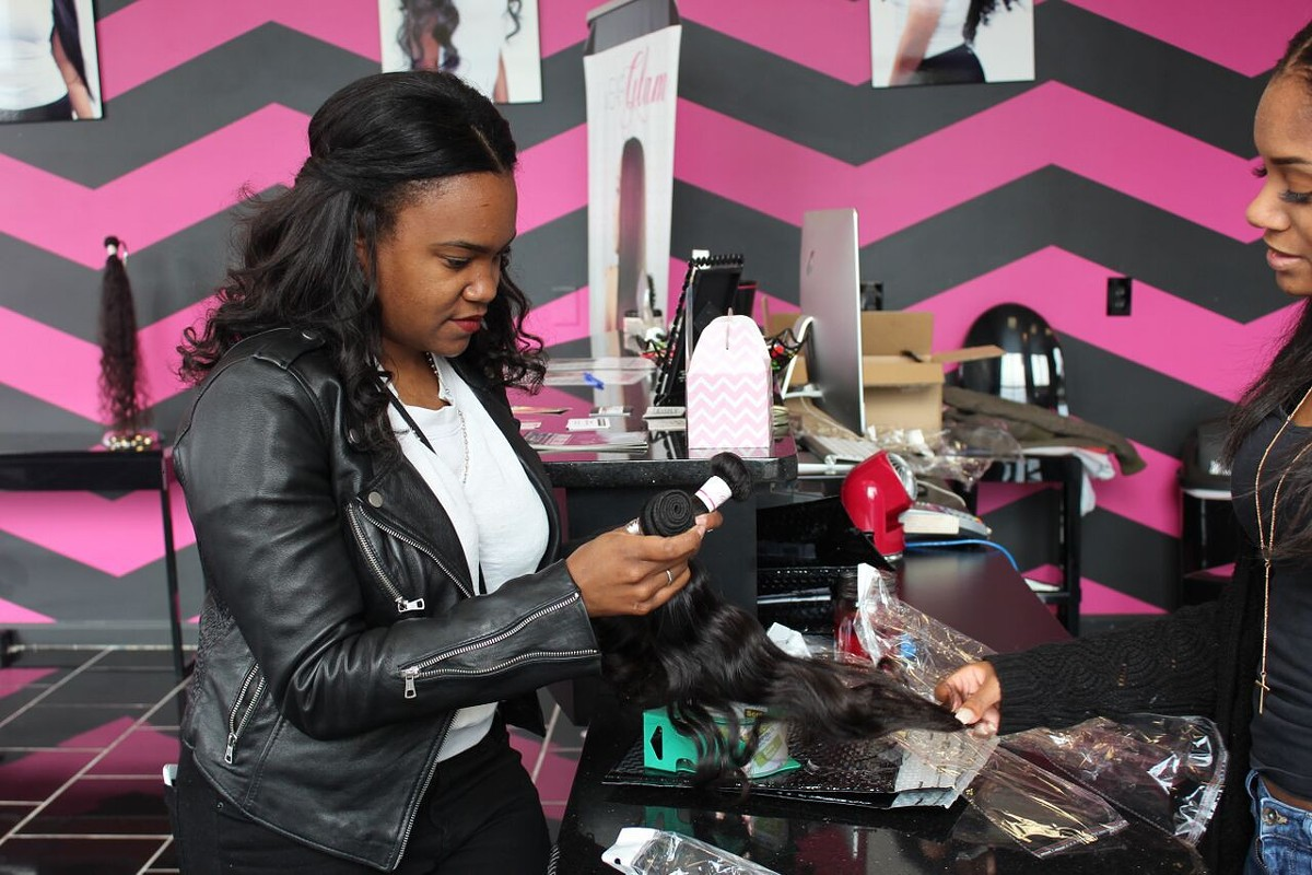 Loriel Plummer of Waterford shopping at I Wear Glam Hair, Dearborn.
