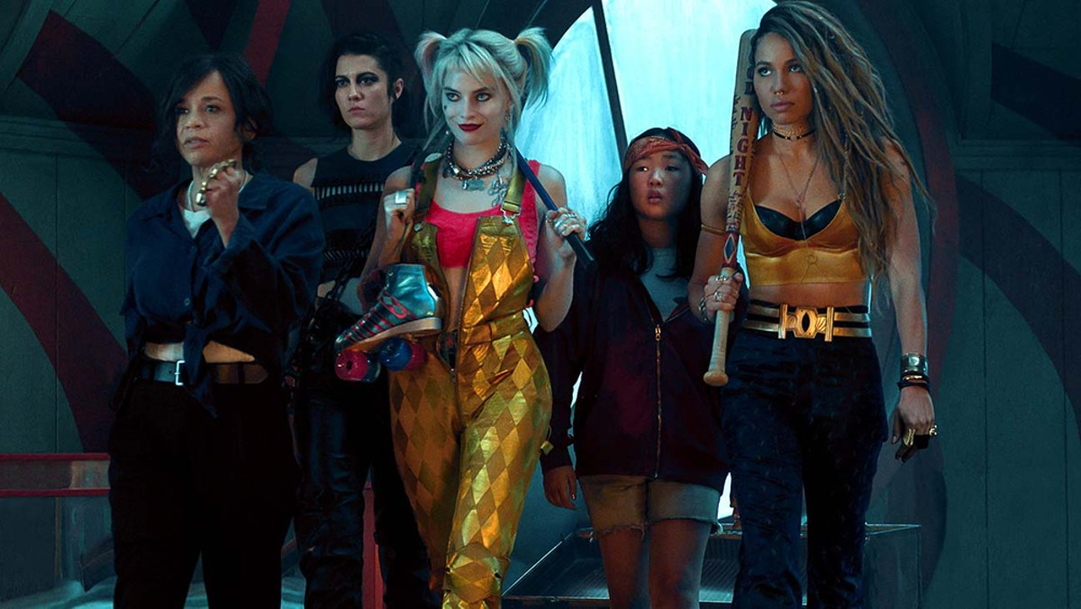 Birds of a feather: Margot Robbie, center, leads a girl gang as DC anti-hero Harley Quinn.