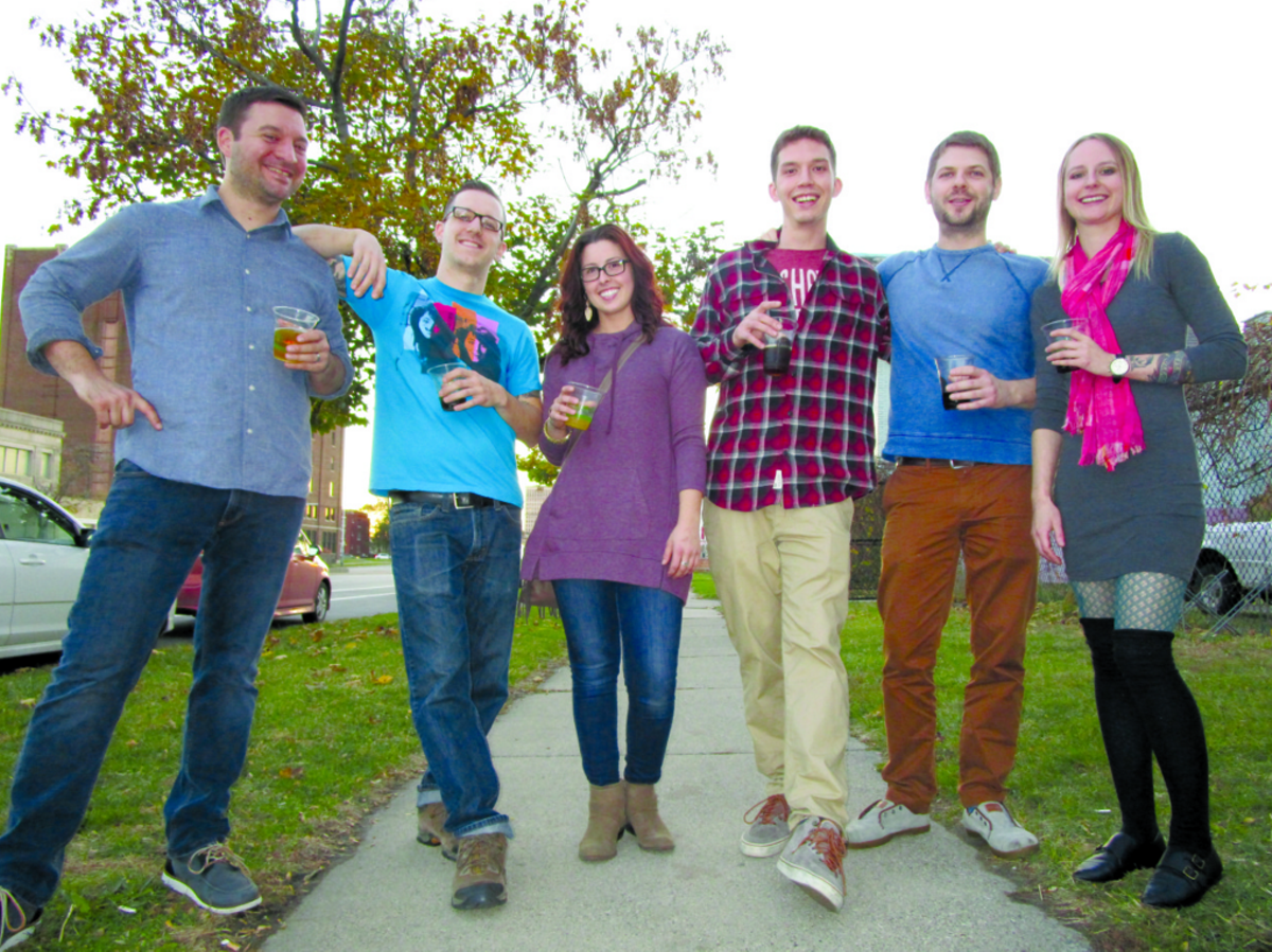 Left to right: Andy Hollyday and James Rigato hang out with kitchen-mates Sam Stanisz of Mabel Gray, and Nyle Flynn, Nick Elswick, and Julia Kopystynski of Selden Standard at that restaurant's first anniversary party.