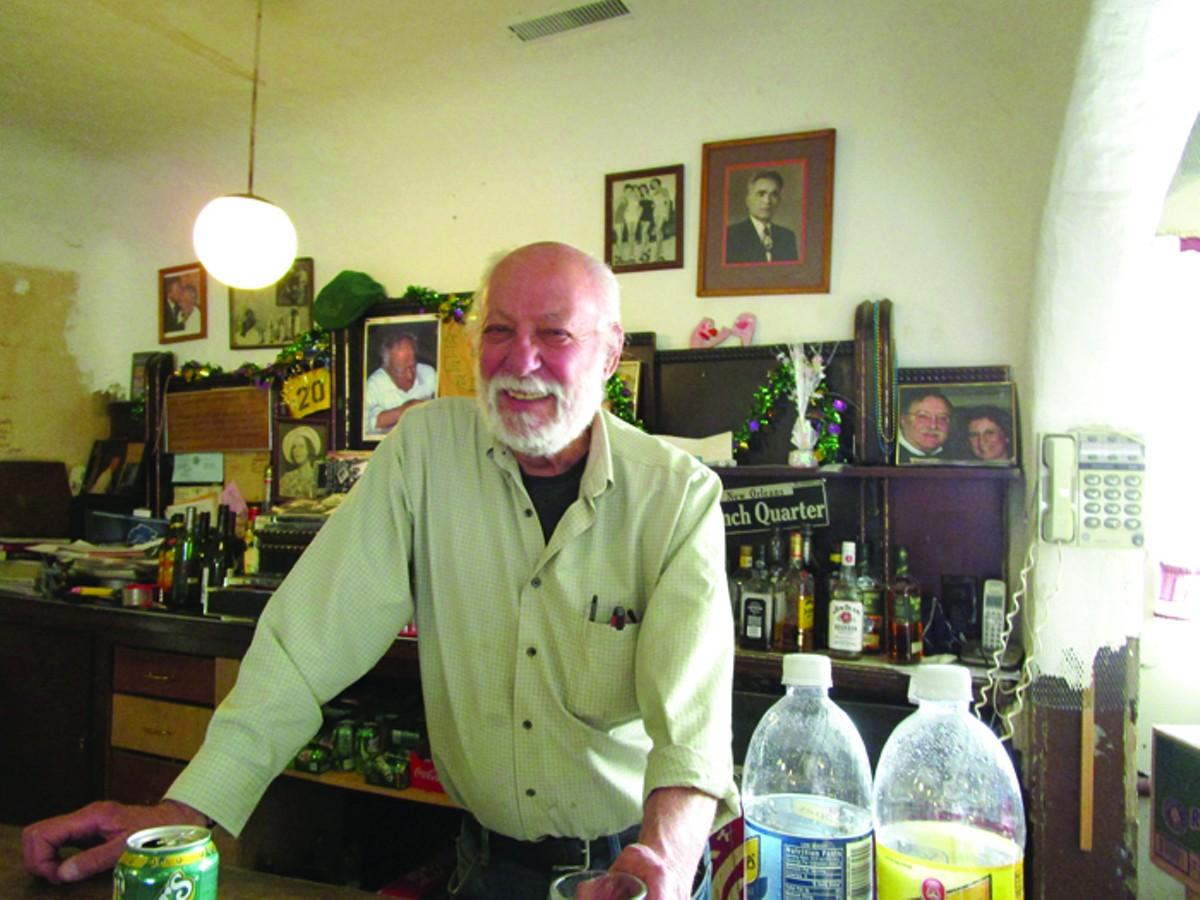 Ron Gurdjian behind the bar at Tom's Tavern.