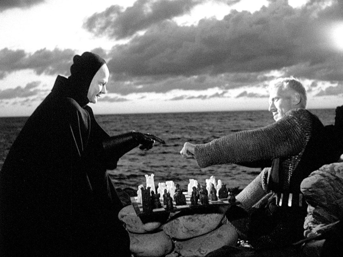 The chess scene from Ingmar Bergman's 1957 medieval plague story, The Seventh Seal.