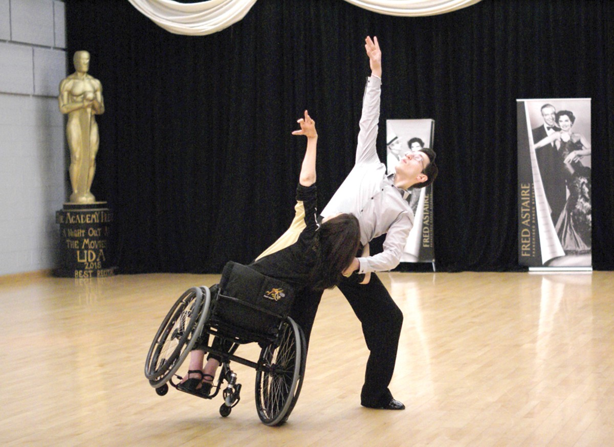 The Rehabilitation Institute of Michigan's Cheryl Angelelli, left, with partner Tamerlan Gadirov during a Dance Mobility class at Fred Astaire Dance Studio in Bloomfield Hills.