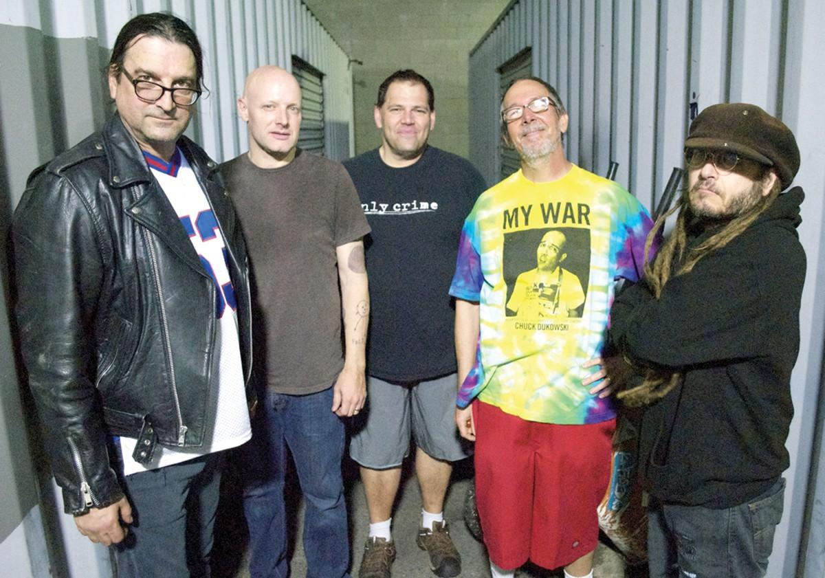 FLAG, from left to right: Dez Cadena, Stephen Egerton,Bill Stevenson, Chuck Dukowski, and Keith Morris.