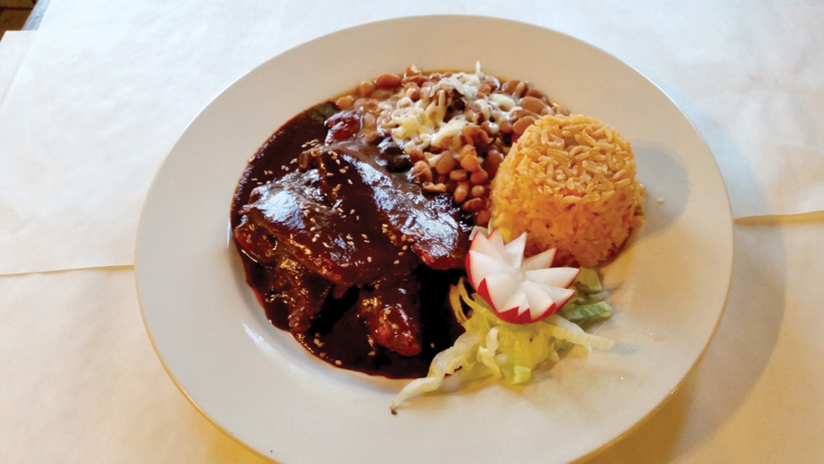 The chicken mole plate.
