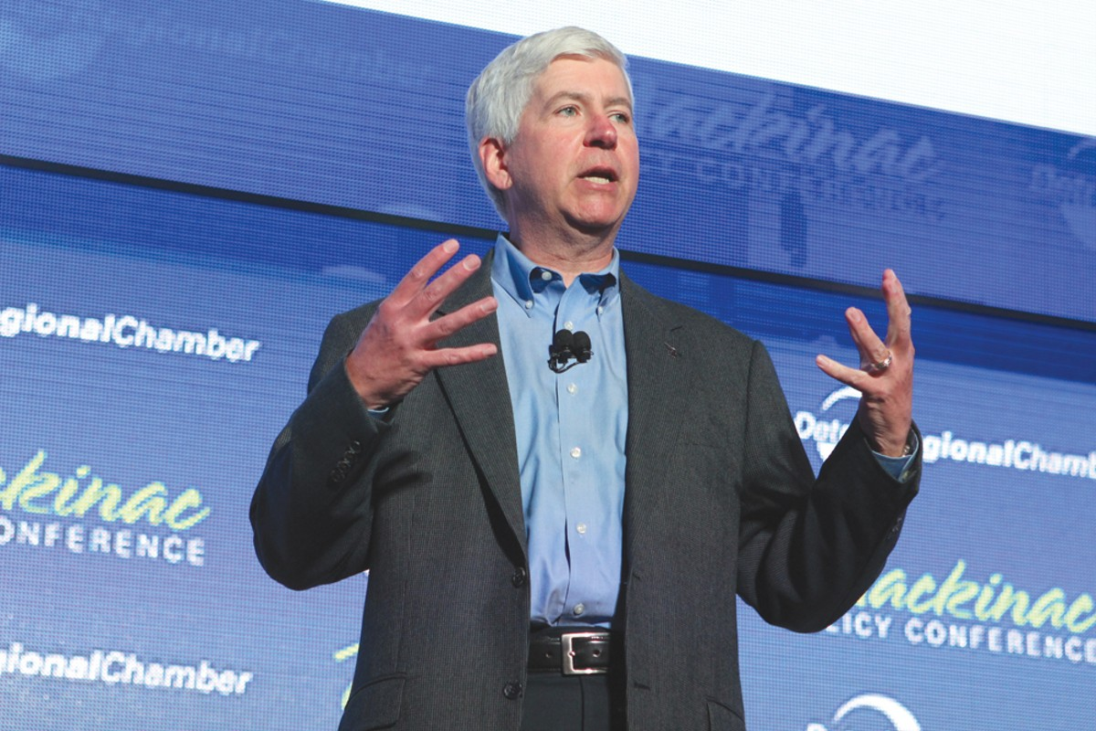 Gov. Rick Snyder speaks at the Mackinac Policy Conference on June 1.